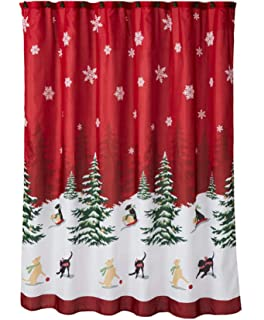 Christmas Shower Curtain Snow Dogs and Trees Scene with 12 Matching  Christmas Trees Hook SetAmazon com  Christmas Tree and Snowflakes Shower Curtain with  . Maroon Shower Curtain Set. Home Design Ideas