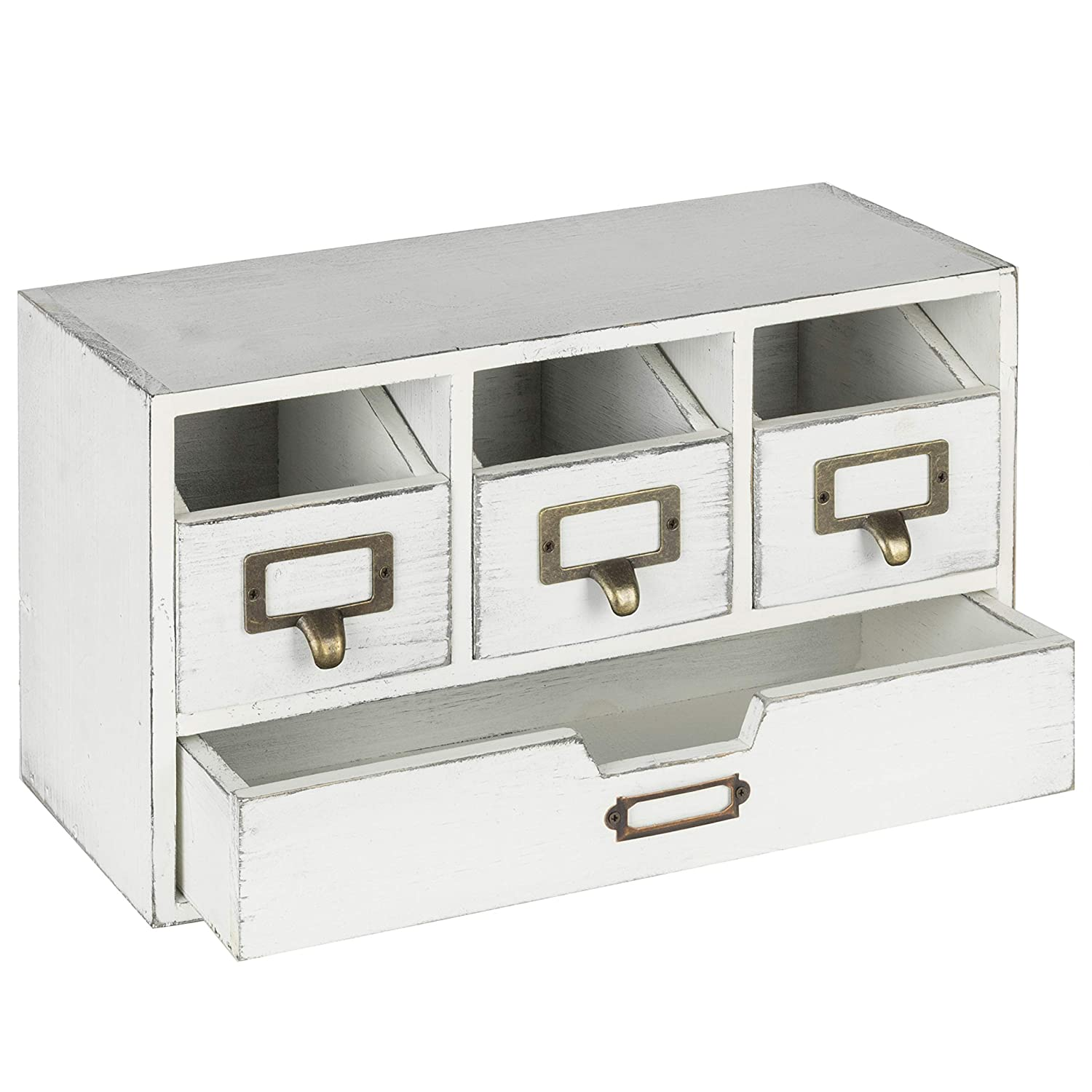 MyGift Vintage White Wood 4-Drawer Desktop Organizer