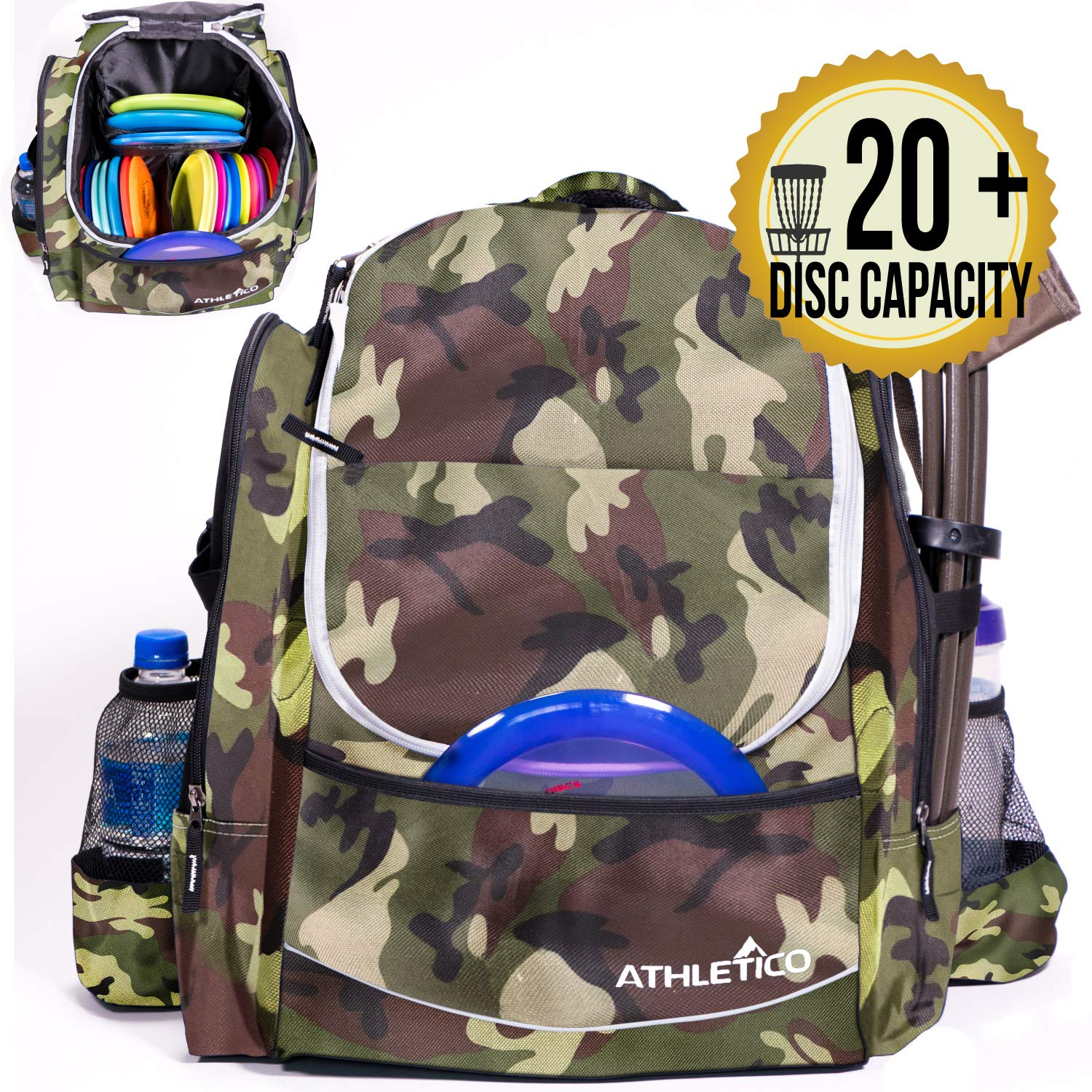 Athletico Power Shot Disc Golf Backpack | 20+ Disc Capacity | Pro or Beginner Disc Golf Bag | Unisex Design (Green Camo) by Athletico