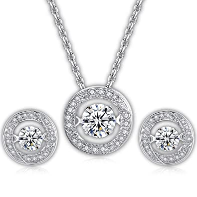 89f138c2b6dd7 Dancing Stone Jewellery Set – White Gold-Plated Dancing Pendant & Earrings  – Fine Jewellery Necklace & in-Ear Cuffs – Sparkling Cubic Zirconia ...