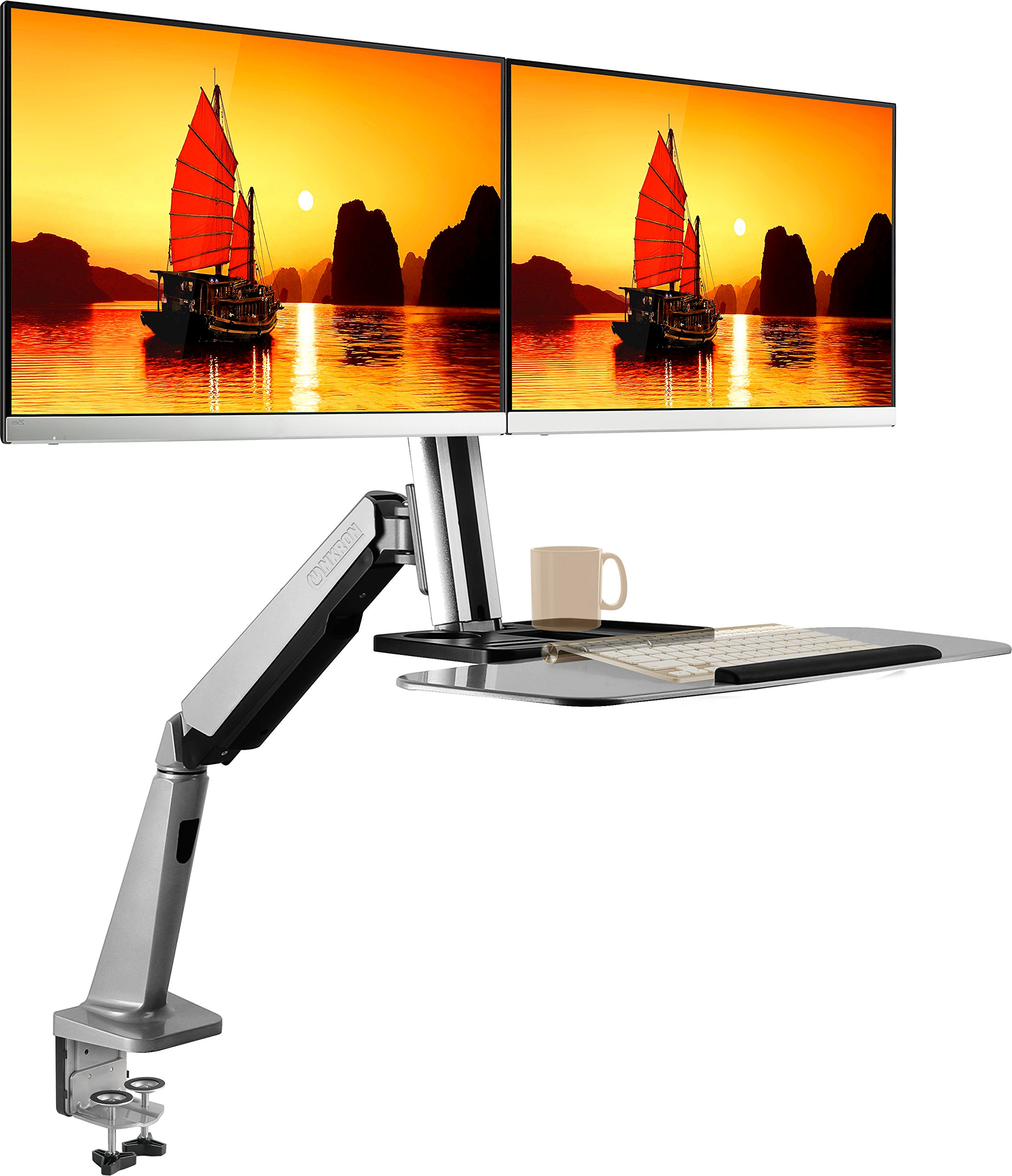 ONKRON Dual Monitor Sit-Stand Desk Mount Workstation Height Adjustable Standing Desk for 2 Monitors Gas Spring fits 13'' - 27'' LCD LED Monitors W2GD Silver