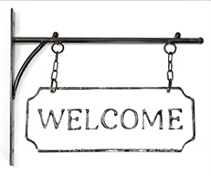 Silvercloud Trading Co. Rustic Hanging Double-Sided Welcome Sign Embossed Black on White Enamel Metal Sign with Bracket - Home and Office Wall Decor - Room Label
