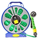 Babz 50ft (15m) Garden Flat Hose and Spray Nozzle with Reel Easy Wind Reel With 7 Settings 50 ft