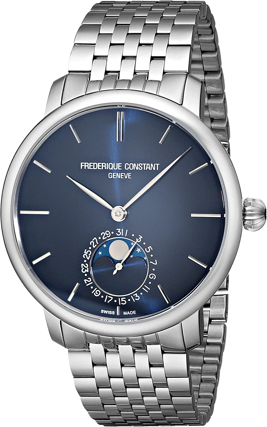 Frederique Constant Men s FC705N4S6B Slim Line Analog Display Swiss Automatic Silver Watch