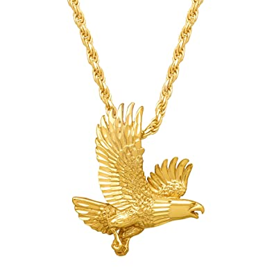 Mens bald eagle pendant necklace in 14k gold plated sterling silver mens bald eagle pendant necklace in 14k gold plated sterling silver aloadofball Image collections
