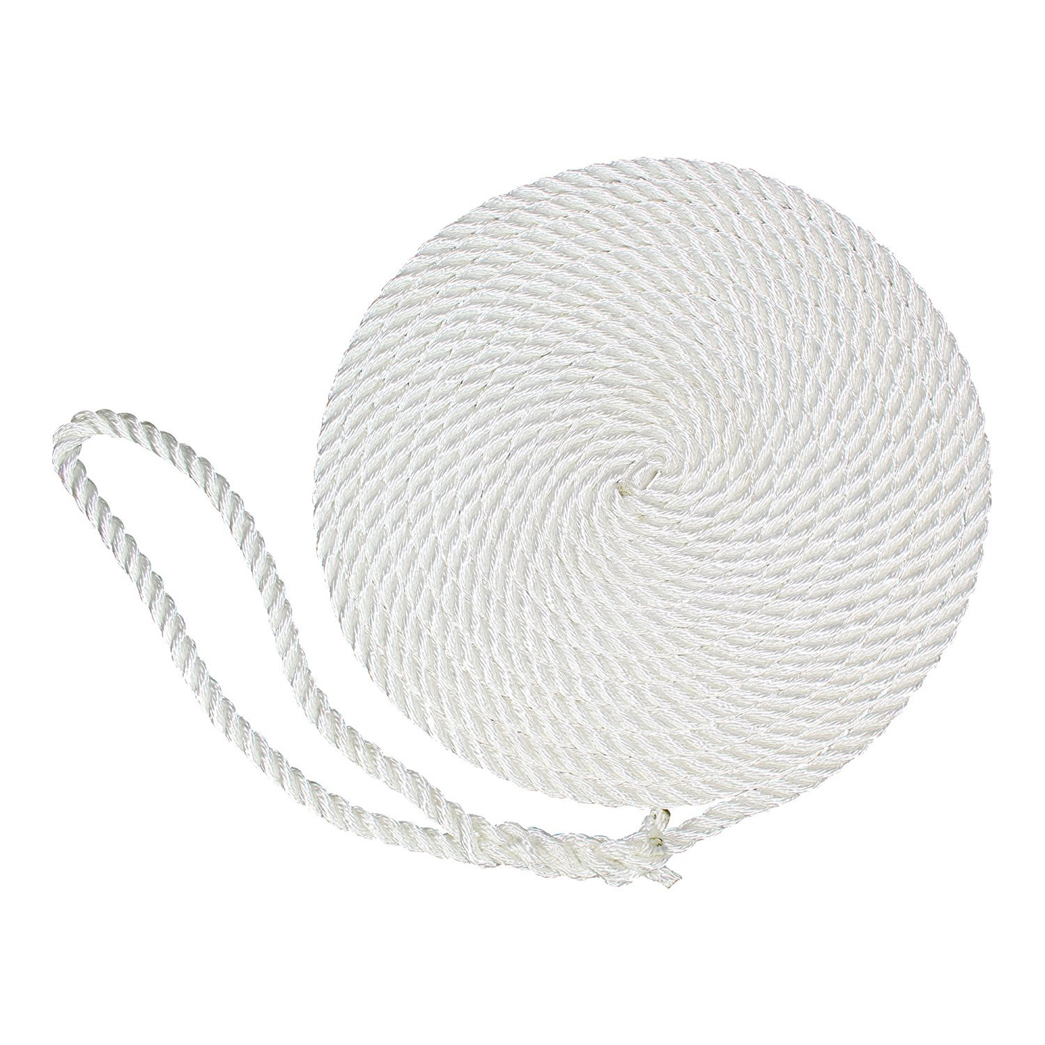 SGT KNOTS Twisted Nylon Dockline (2-Pack, 3/8 in x 15 ft, White) - 3-Strand Twist Nylon Rope Docklines - Marine Ropes for Boat/Boats - Dock Lines by SGT KNOTS
