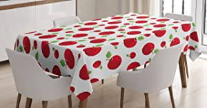 Ambesonne Fruits Tablecloth, Vivid Colored Cartoon Style Ripe Red Apples Vitamins Taste Healthy Food, Rectangular Table Cover for Dining Room Kitchen Decor, 52
