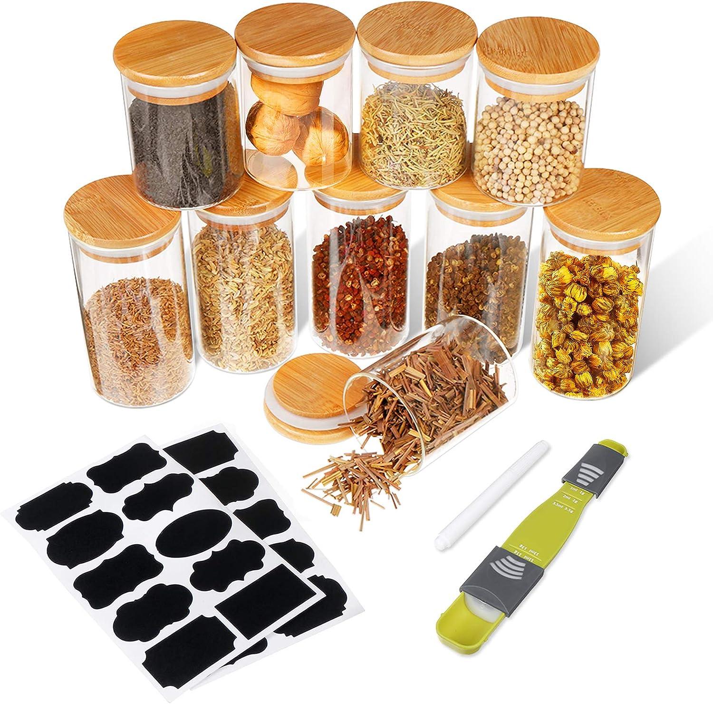 SAWAKE 10pcs Tarros de Vidrio de Almacenamiento(250 ml*5+350 ml*5) Botes de Cristal con Tapa de Bambú&Anillo de Silicona, Recipientes Herméticos para Especias,Cereales,azúcar,té,Frijoles,Pasta,nue
