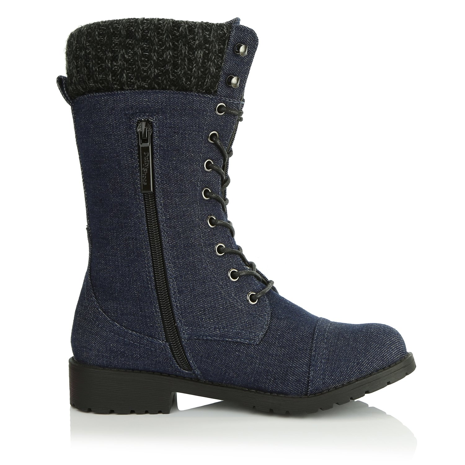 DailyShoes Ankle Women's Combat Style up Ankle DailyShoes Bootie Quilted Military Knit Credit Card Knife Money Wallet Pocket Boots B0155NA0D8 7.5 B(M) US|Blue Denim 03b79b