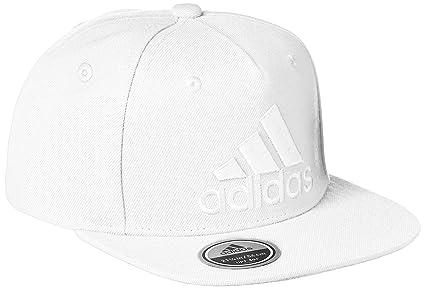 adidas Flat Logo Gorra de Tenis, Hombre, Blanco, M