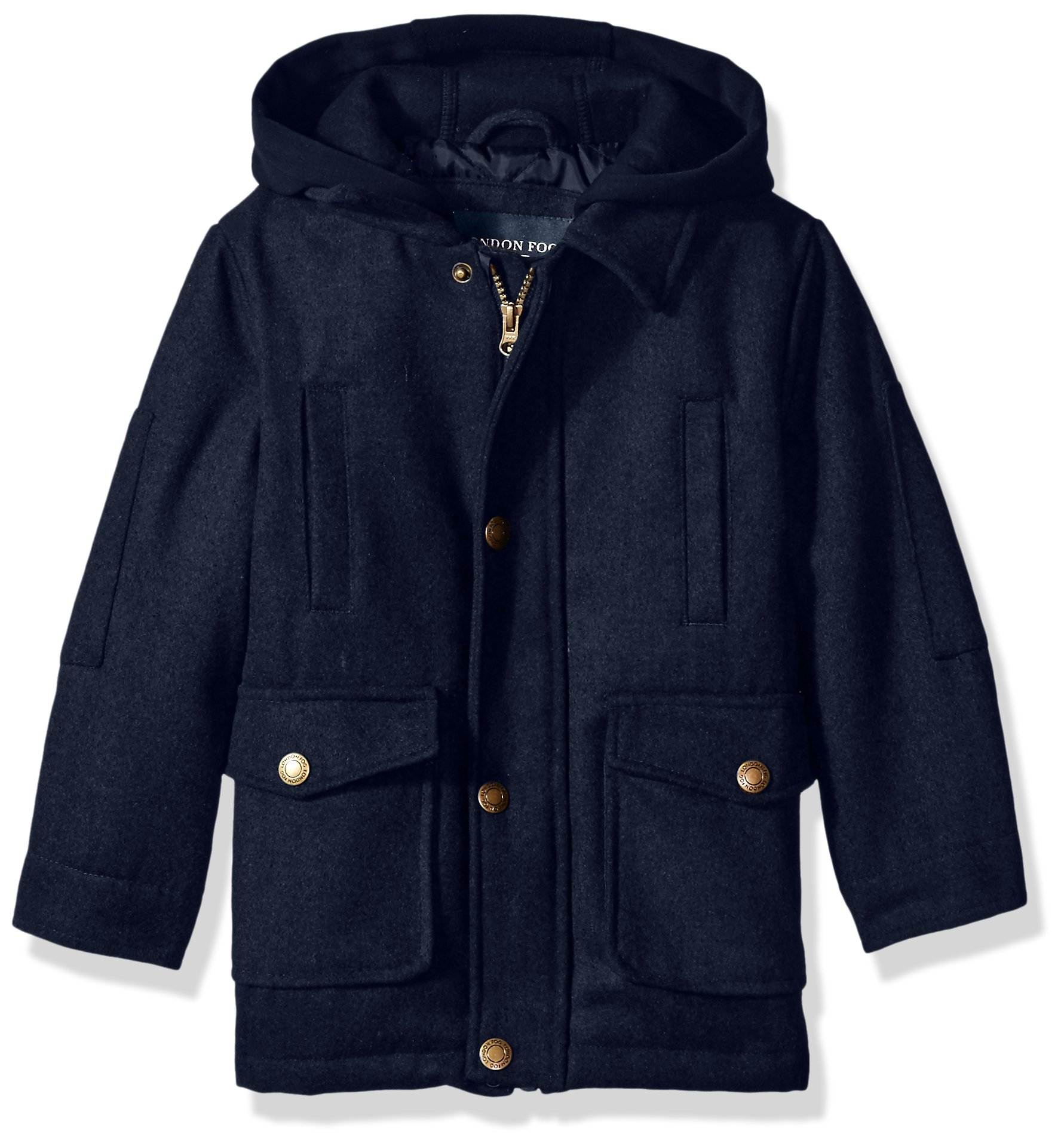 London Fog Little Boys' Faux Wool Coat With Hood, Navy, 7