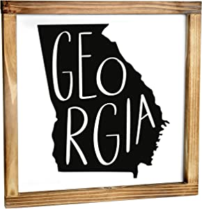 Georgia Sign - Rustic Farmhouse Decor For The Home - Georgia State Sign, Modern Farmhouse State Gift, Georgia Wall Decor, State Souvenir, Rustic Home Decor Sign With Solid Wood Frame 12x12 Inch