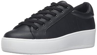 Steve Madden Womens Black Bertie Lace Up Fashion Sneakers Shoes Sz 10B