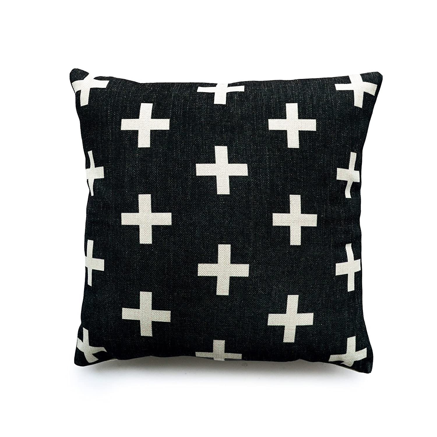 Charcoal Grey Cotton Linen Cross Pillow