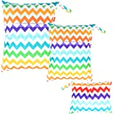 Damero 3pcs Pack Wet Dry Bag for Cloth Diapers Nappy Bag Daycare Organiser Bag, Colorful Chevron
