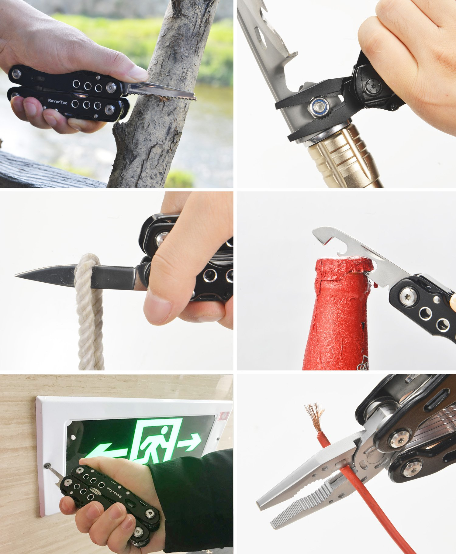 12 in 1 Multi tool Pliers RoverTac Pocket Knife with Durable Nylon Sheath, Multitool with Pliers, Bottle Opener, Screwdriver, Saw-Perfect for Outdoor, Survival, Camping, Fishing, Hiking (black) by RoverTac (Image #8)