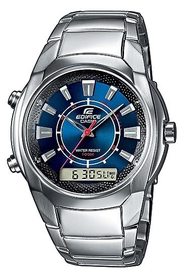 Casio EFA-128D-2AVEF - Reloj analógico - digital de caballero de cuarzo con correa de acero inoxidable plateada (cronómetro, alarma) - sumergible a 100 ...