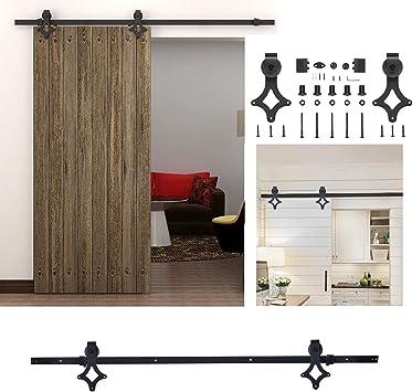6 FT/183 cm puerta corredera de madera de granero armario Set Retro Estilo deslizante de pista Kit para puerta de madera única negro: Amazon.es: Bricolaje y herramientas
