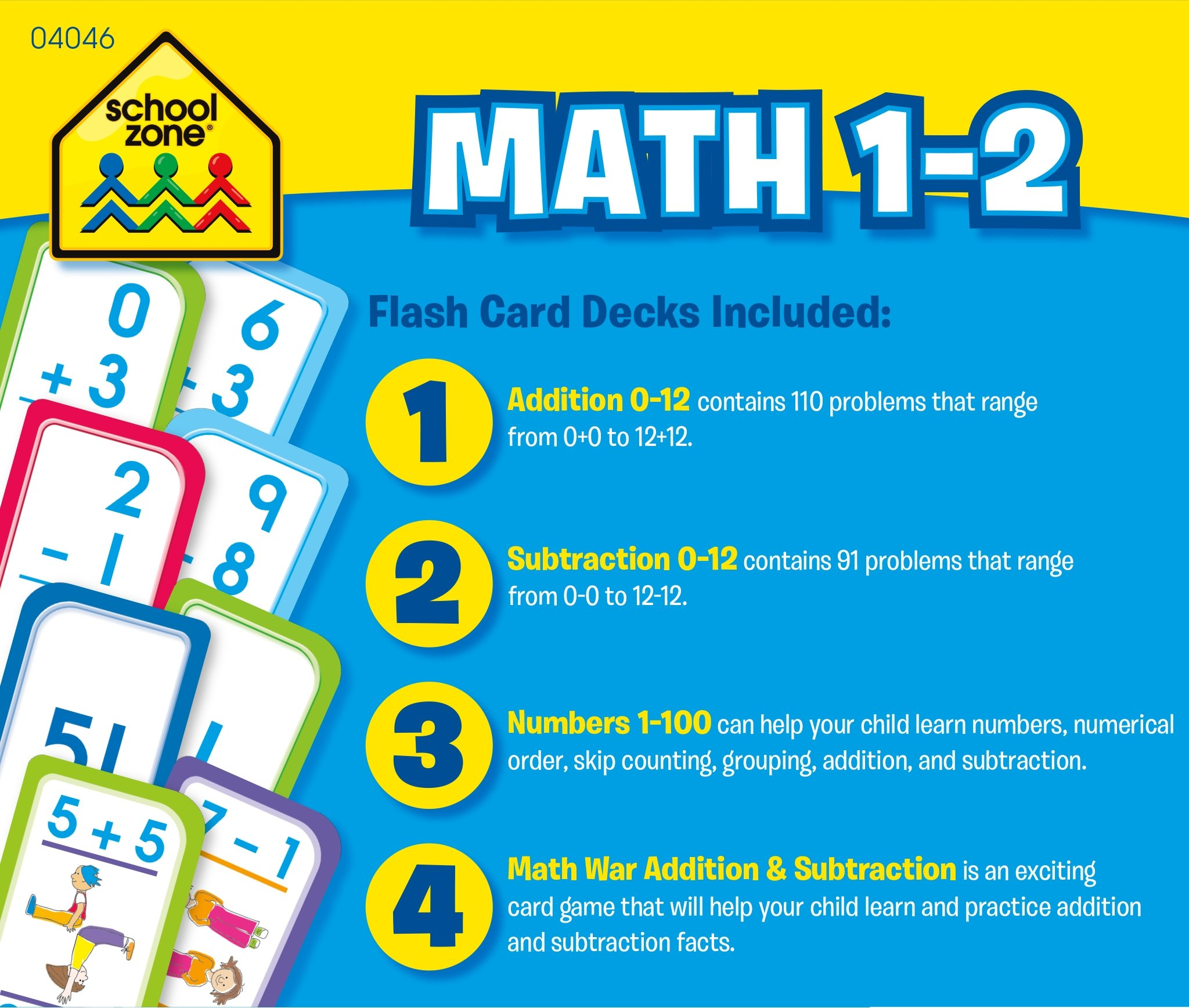 School Zone - Math 1-2 Flash Card 4-Pack - Ages 4 and Up, Addition ...