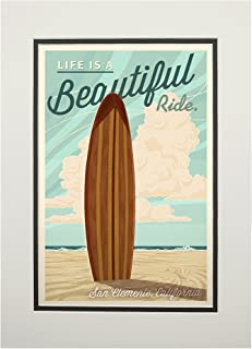 product image for San Clemente, California - Surf Board Letterpress - Life is a Beautiful Ride (11x14 Double-Matted Art Print, Wall Decor Ready to Frame)