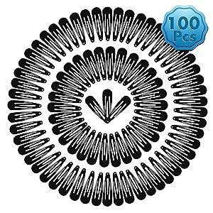 Cridoz 100 Pcs Barrettes Black Hair Clips Hair Barrettes Snap Clips for Hair Tools Accessories