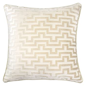 Homey Cozy Modern Velvet Maze Throw Pillow Cover,Ivory White Luxury Soft  Fuzzy Cozy Warm