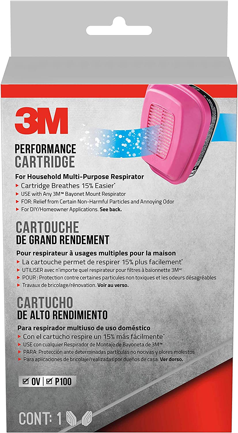 3M 60921 Replacement Cartridges for Household Multi-purpose Respirator, Magenta, Black