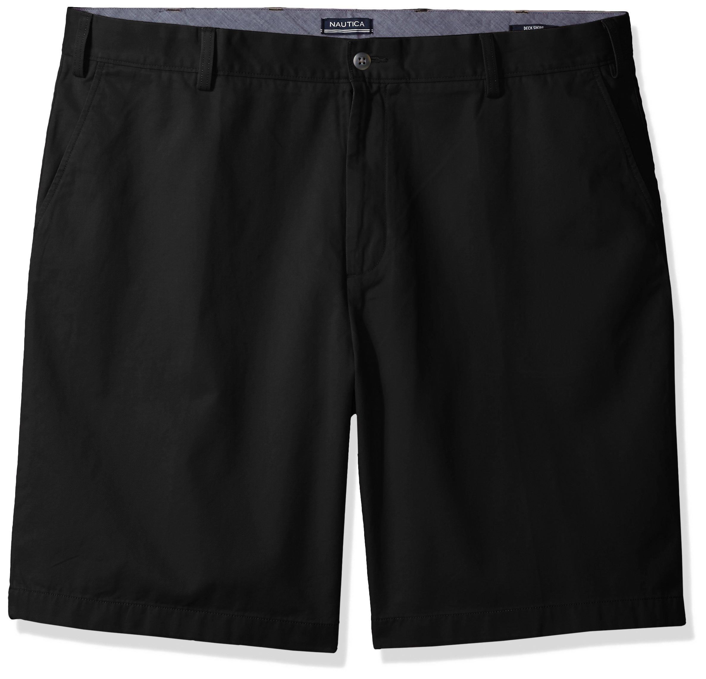 Nautica Men's Big and Tall Cotton Twill Flat Front Chino Deck Short-C92110, True Black, 46W