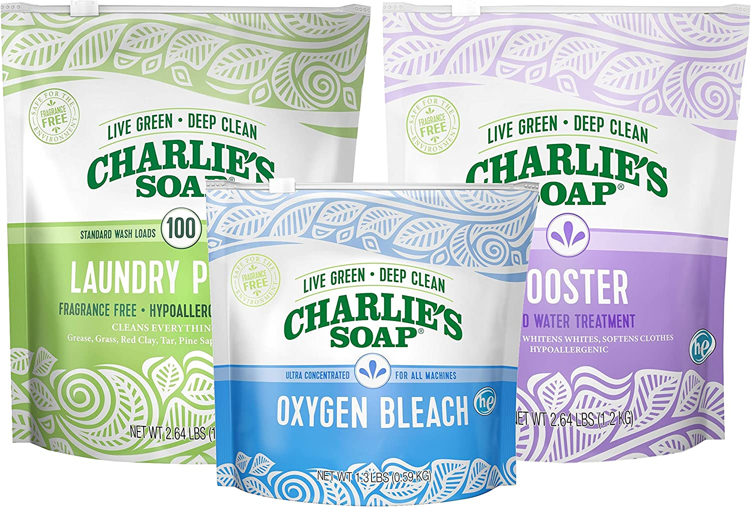 Charlie's Soap Laundry Powder Set Color Safe with Booster & Oxygen Bleach