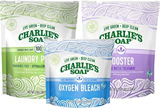 product image for Charlie's Soap Laundry Powder Set Color Safe with Booster & Oxygen Bleach