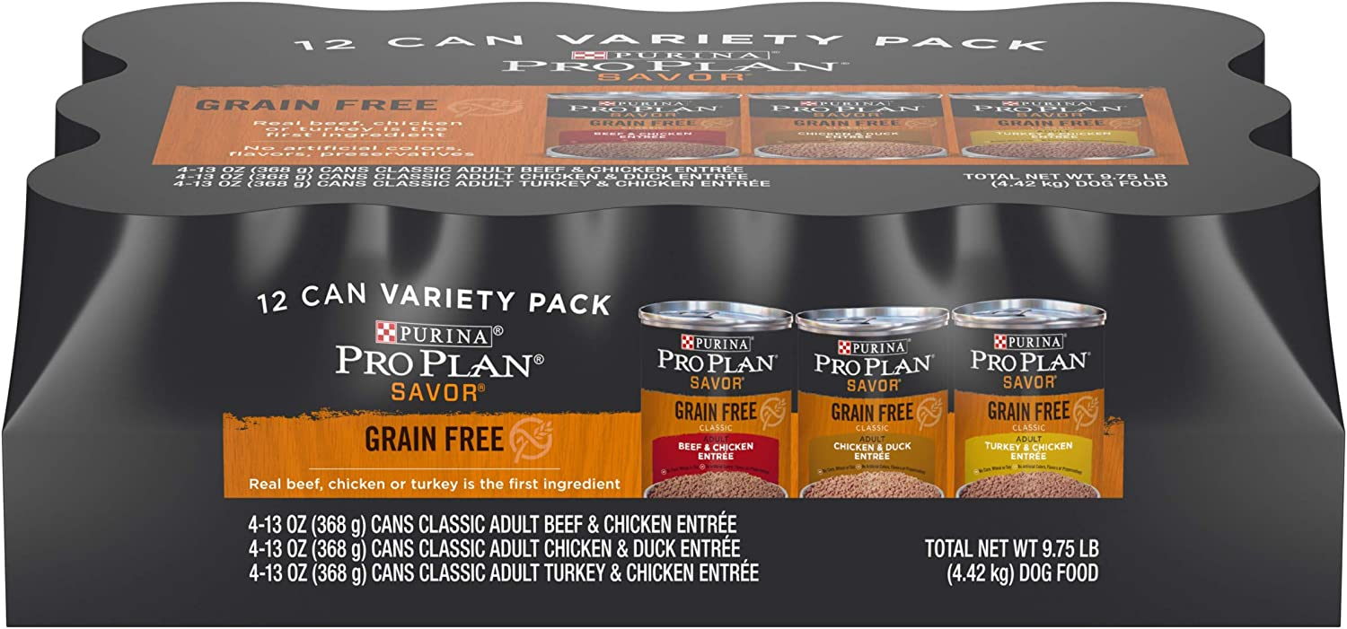 Purina Pro Plan Grain Free, High Protein Wet Dog Food, SAVOR Entree Variety Pack - (12) 13 oz. Cans