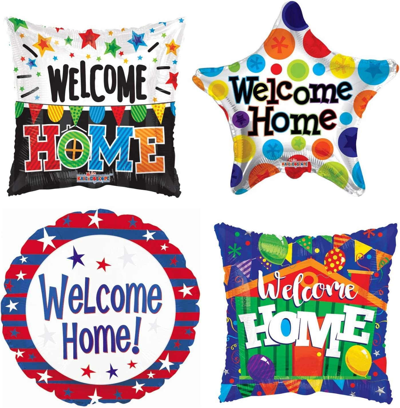 Welcome Home Balloon Decorations - Set Of 4 Party Balloons For A Simple American Home Decor. Great For A Housewarming Or A Welcome Back Military Homecoming