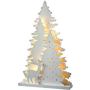 WeRChristmas Pre-Lit Wooden House Scene Advent Calendar Christmas Decoration 32 cm White
