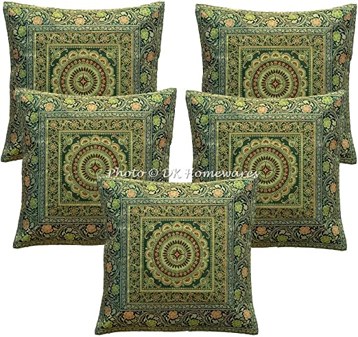 Throw Cushion Cover Brocade Mandala Pillow Covers Indian Decor Square 16x16 Sofa
