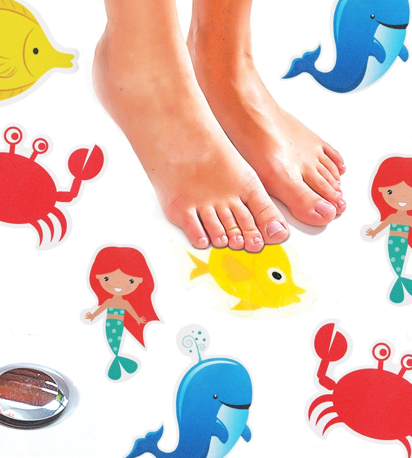 Monkey Home Non-Slip Bathtub Stickers by Pack of 8 Large Sea Creature Decal Treads. Best Adhesive Safety Anti-Slip Appliques for Bath Tub and Shower Surfaces Umiss Paper