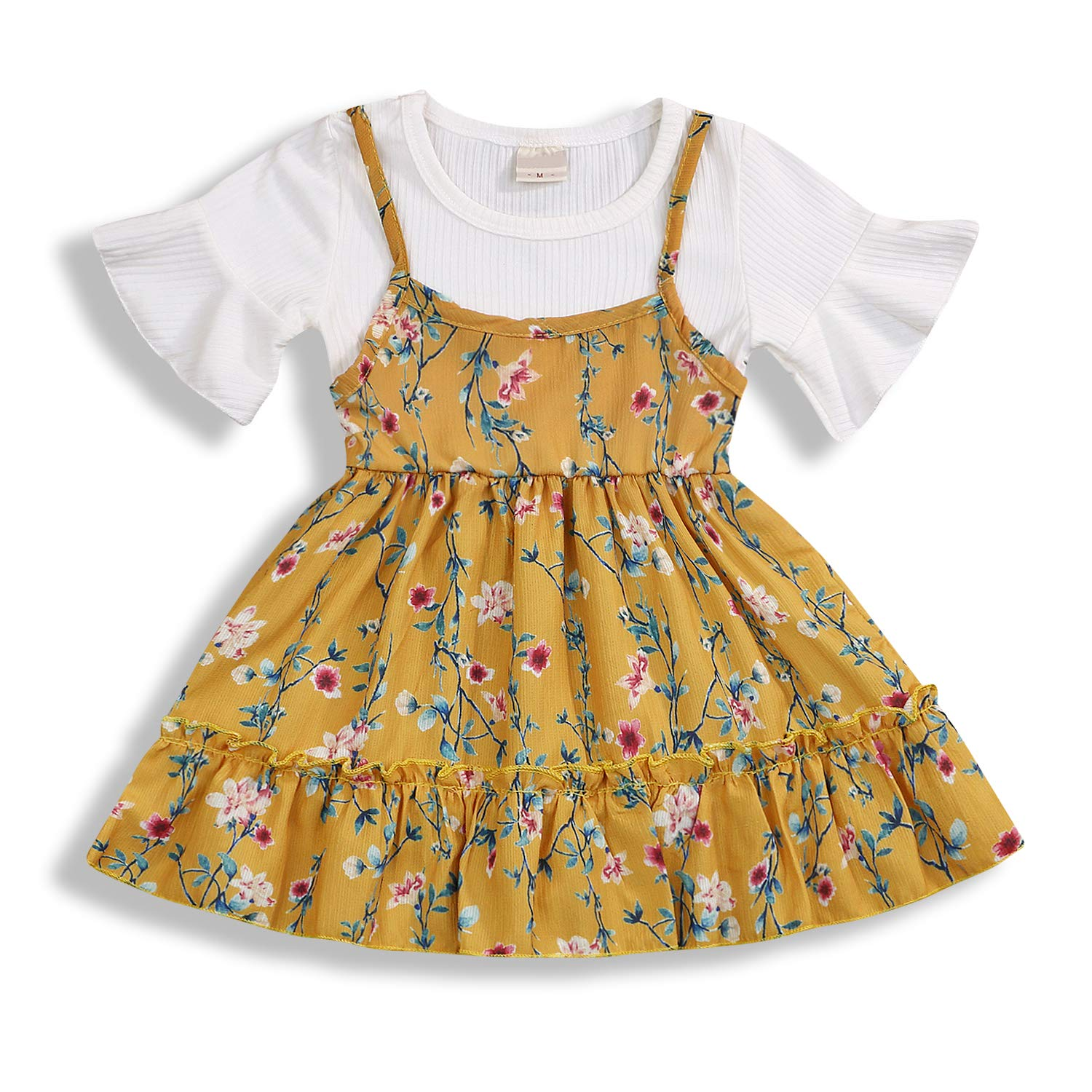 Toddler Baby Girls Summer Outfit Fake Two-Piece Suit Floral Short Sleeve Round Neck A-line Dress Vacation Suits