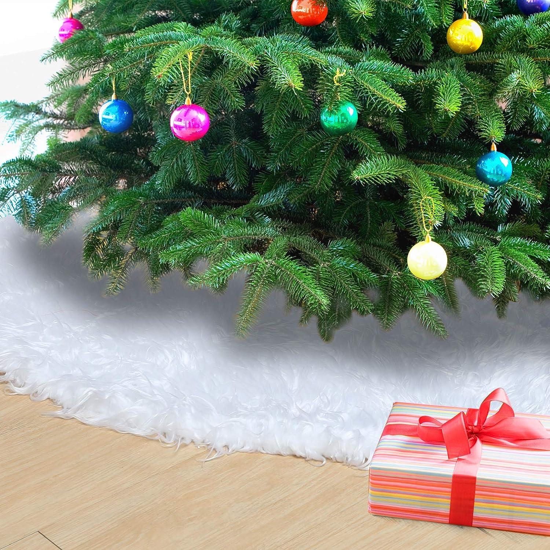 Naler Falda del Árbol de Navidad Alfombra Blanca Redonda Navidad ...