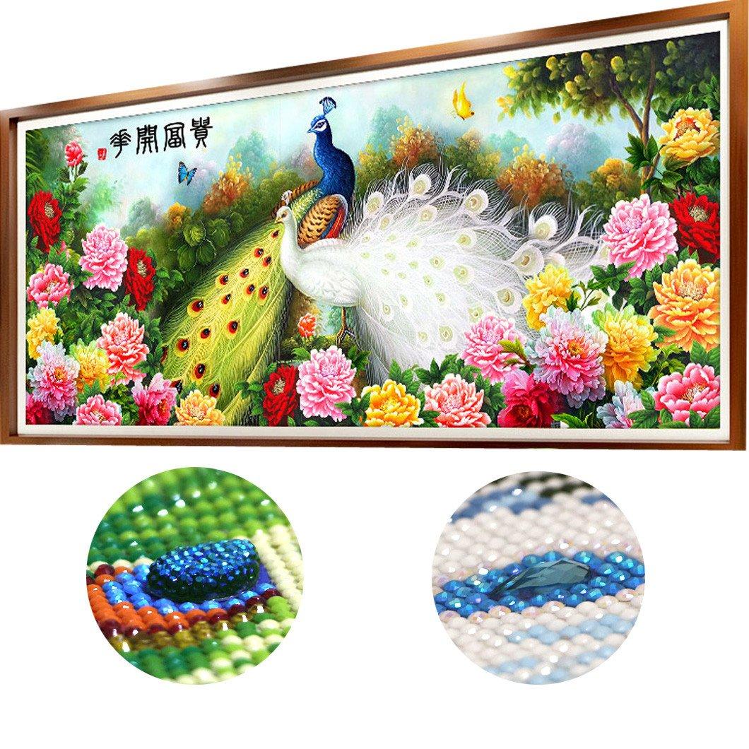 Mazixun Diamond Embroidery Full Round Rhinestones Special Shaped Diamond Cross Stitch Pictures Diamond Mosaic Houses Flowers Peacock 120x51cm