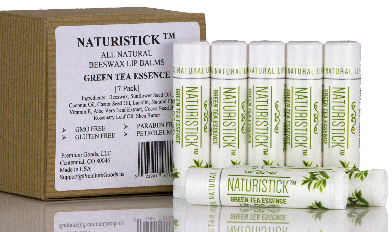 7 Pack Green Tea All Natural Beeswax Lip Balm Set by Naturistick  Best Chapstick for Dry  Chapped Lips  with Aloe Vera  Vitamin E  Coconut Oil for Men  Women and Kids  Made in USA Pure by Nature