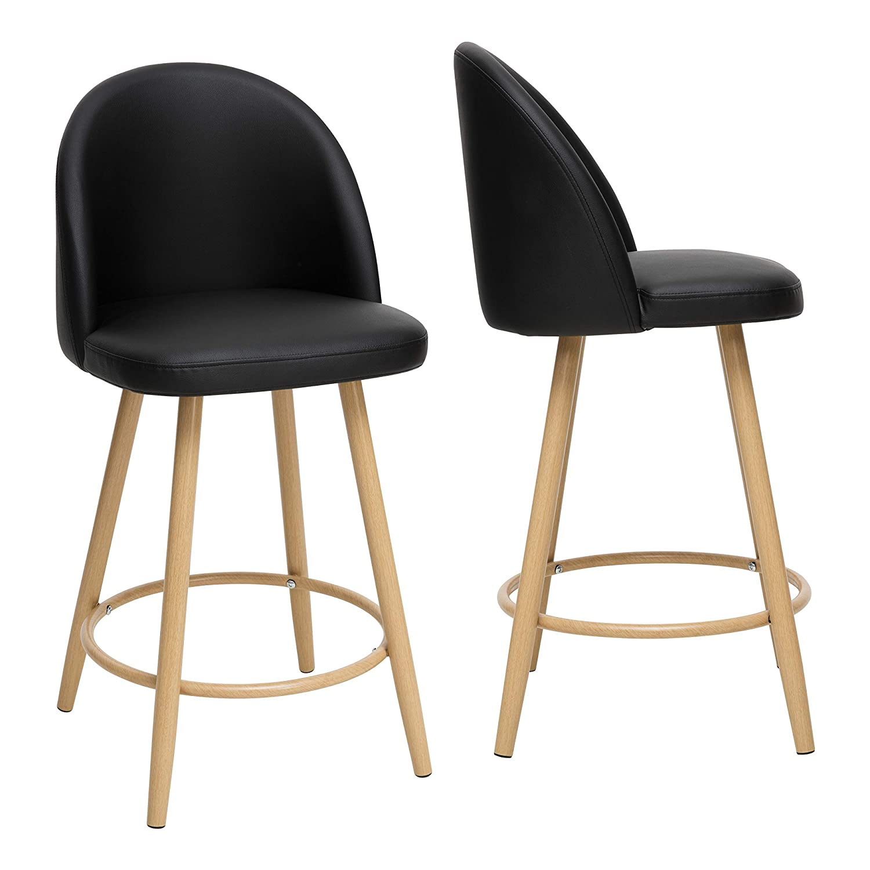 con Schienale e Altezza della Seduta: 65 cm Set di 2 sgabelli da Bar By Demeyere Houndi Stile Contemporaneo 45 x 48 x 89 cm Gambe in Metallo Nero