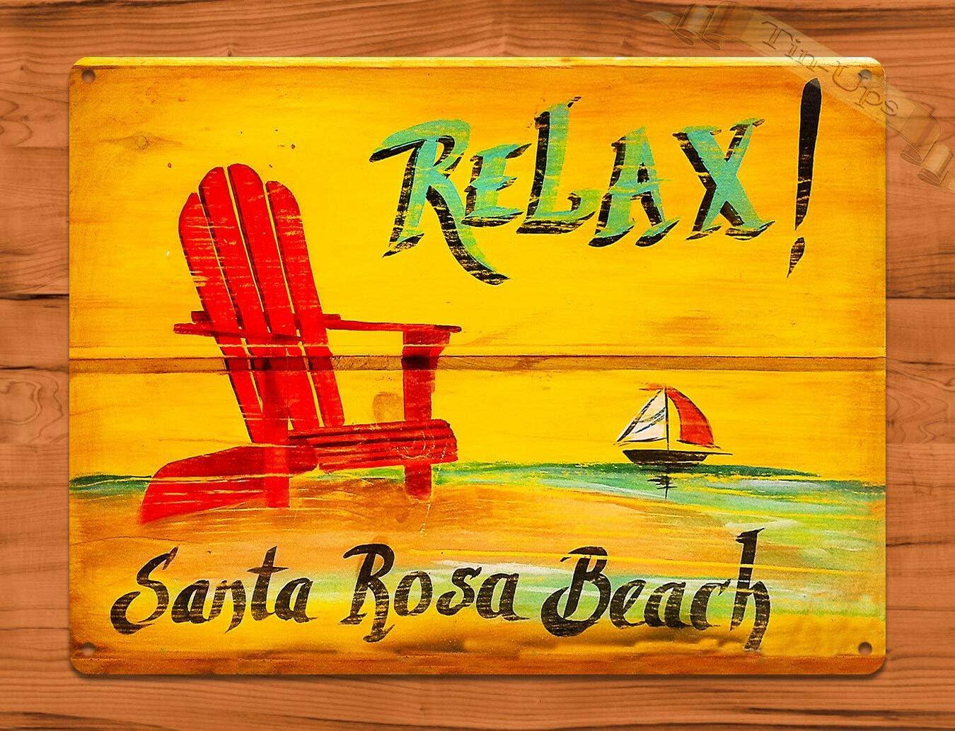 AMELIA SHARPE Metal Vintage Tin Signs Relax! Santa Rosa Beach Florida Ocean Bay Decorative Tin Sign Home Bar Restaurant Wall Decoration Sign 12X8Inch