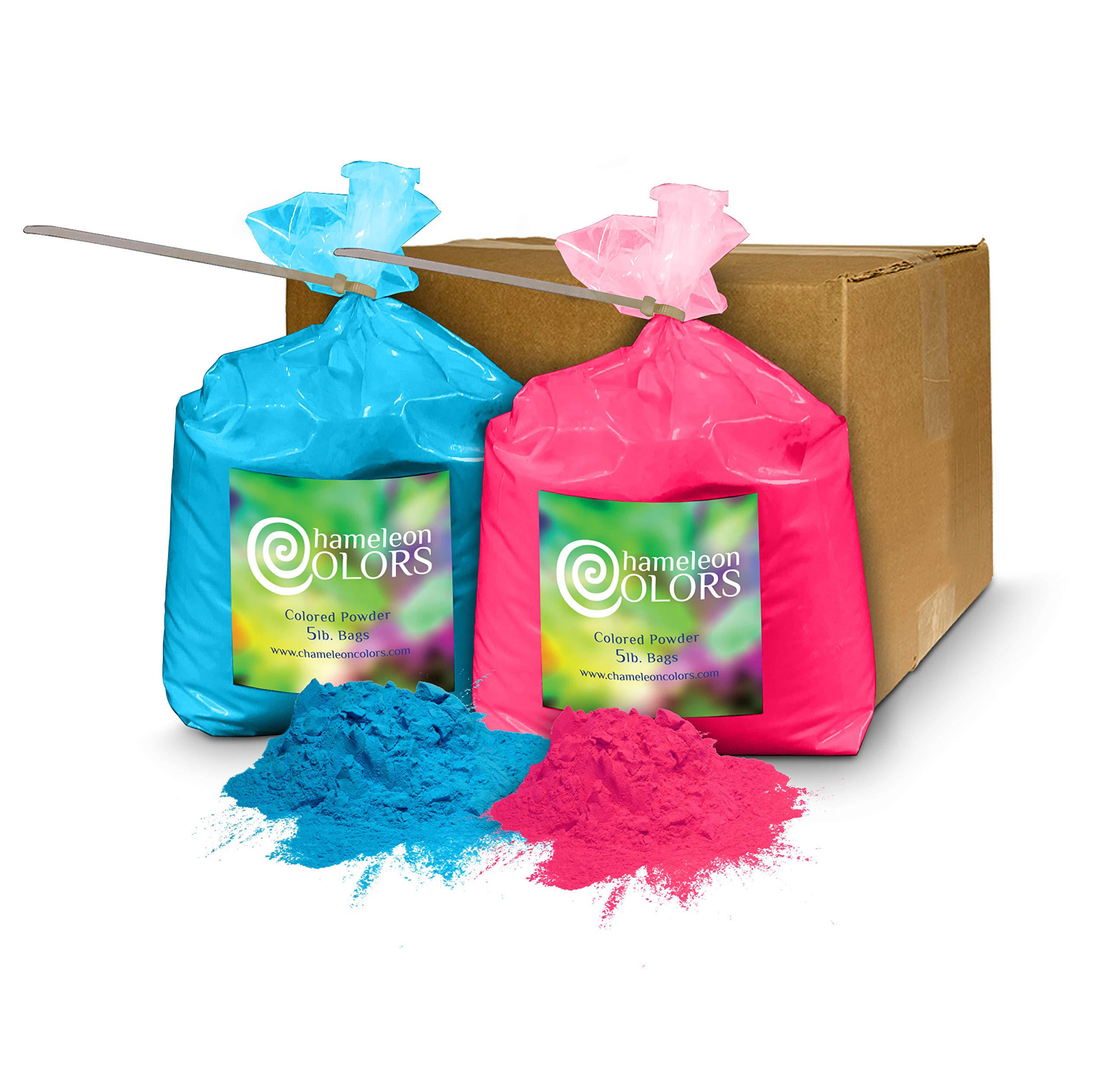 Holi Color Powder Gender Reveal by Chameleon Colors – 5lb Blue and 5lb Pink. Same Premium, Authentic Product Used for a Color Run, 5k, etc.