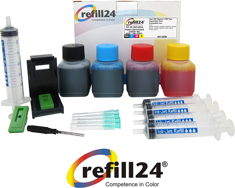 Kit de Recarga para Cartuchos de Tinta Canon 545, 546, 545 XL, 546 XL Negro y Color, Incluye Clip y Accesorios + 200 ML Tinta