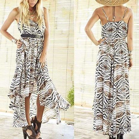 Mujeres Vestido Amlaiworld Mujeres Boho Leopardo Irregular Sin Largo Maxi Vestido: Amazon.es: Ropa y accesorios