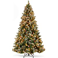 Best Choice Products 6Ft Pre-lit Pre-Decorated Pine Hinged Artificial Christmas Tree w/ 818 Flocked Frosted Tips, 58…