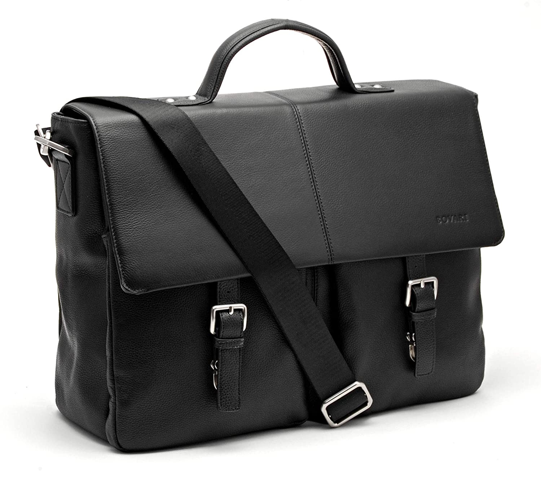 Bovari echt Leder Herren Schultertasche Aktentasche Laptop-Tasche Messenger Bag 40x30x14 cm Model Lyon - XL Edition (15.6 Zoll) (braun)