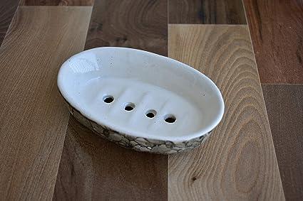 Kunhar Ceramic Soap Dish for Bathroom/Ceramic Soap Dish for Bath Tub/Ceramic Soap Dish for Wash Basin Beautifully Crafted Bathroom Accessory