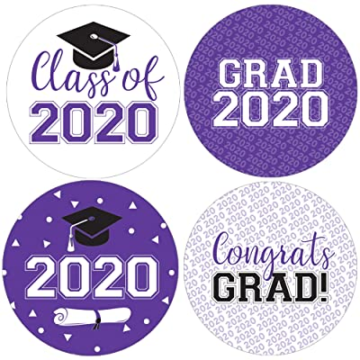Class of 2020 Graduation Party Favor Labels, 1.75 in - 40 Stickers (Purple): Health & Personal Care