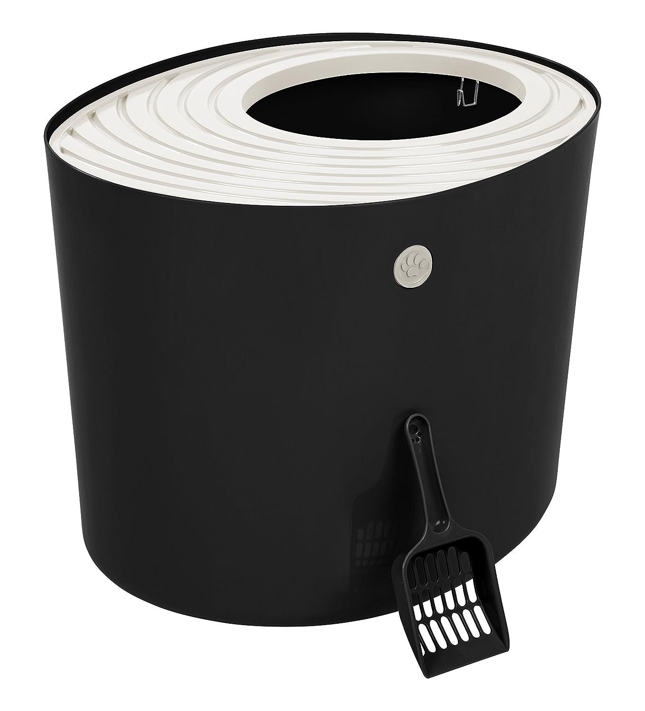 IRIS Top Entry Cat Litter Box, Black White