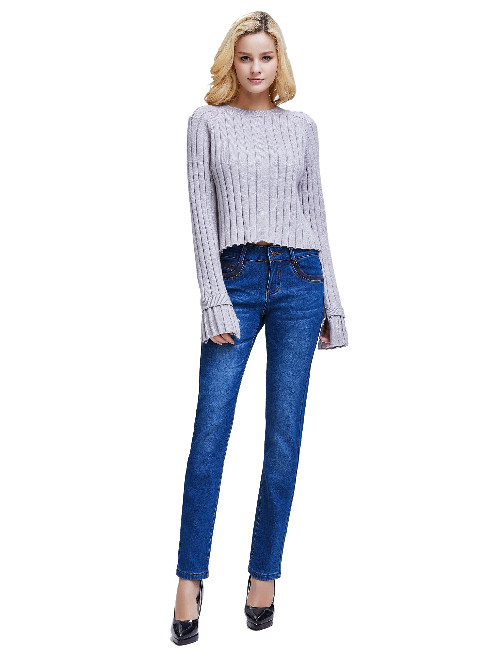 Camii Mia Women's Winter Slim Fit Thermal Jeans Pants (W28 x L30, Blue (New Size)) by Camii Mia (Image #5)